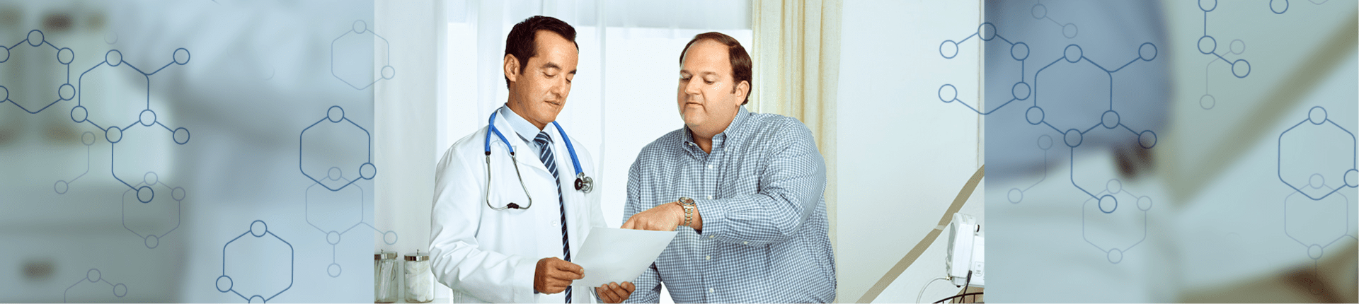 Man working with his health care provider to develop a weight management plan